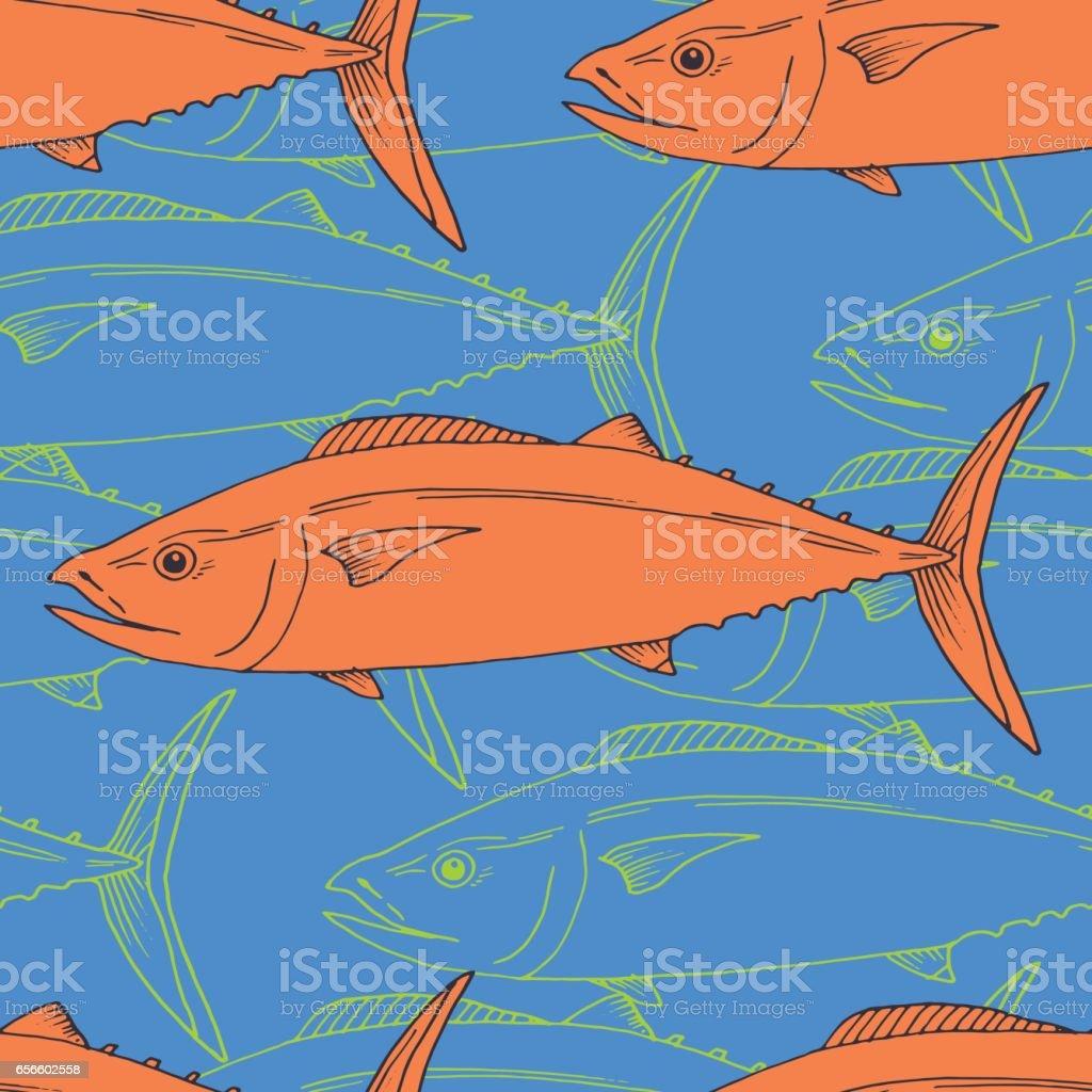Vector seamless pattern with tuna fish vector art illustration