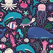 Kleurplaten Van Onderwaterdieren.Kids Kleurplaten Pagina Vector Set Onderwater Dieren Octopus Walvis