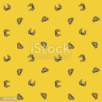Vector seamless pattern with underwear. Black panties and bra lines on a yellow background in vector