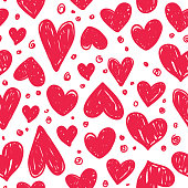 istock Vector seamless pattern with valentine hearts 1213368392
