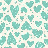 Seamless pattern of blue hearts