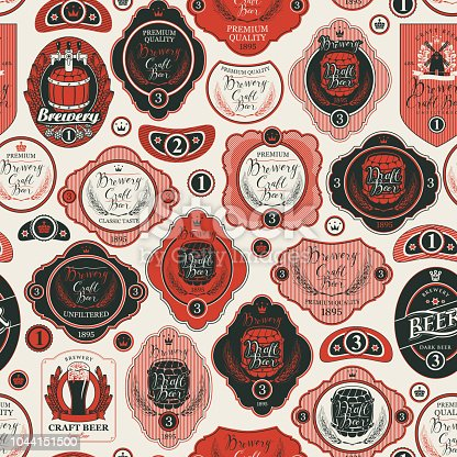 Vector seamless pattern on the theme of beer with various beer labels with images of wooden barrels, ears of barley, beer glasses, mills and other in retro style on light background