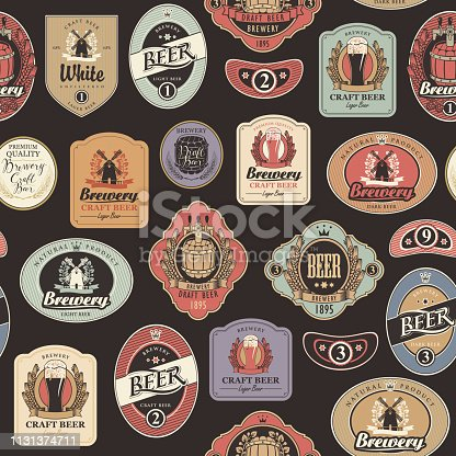 Vector seamless pattern on the theme of beer with various beer labels with images of barrels, beer glasses, mills, laurel wreathes, ears of wheat and other in retro style on the black background