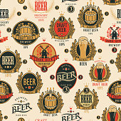 Vector seamless pattern on the theme of beer with various beer labels with images of barrels, beer glasses, mills, laurel wreathes, ears of wheat and other in retro style on a light background