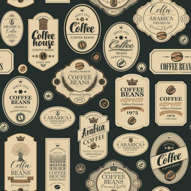 wektorowy bezszwowy wzór z różnymi etykietami kawy - bar lokal gastronomiczny stock illustrations