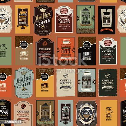 Vector seamless pattern on coffee and coffee house theme with various labels in retro style. Can be used as wallpaper or wrapping paper