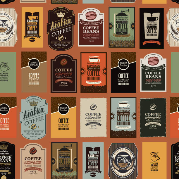 illustrazioni stock, clip art, cartoni animati e icone di tendenza di vector seamless pattern with various coffee labels - packaging