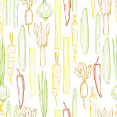 istock Vector seamless pattern with vegetables. 1205019135