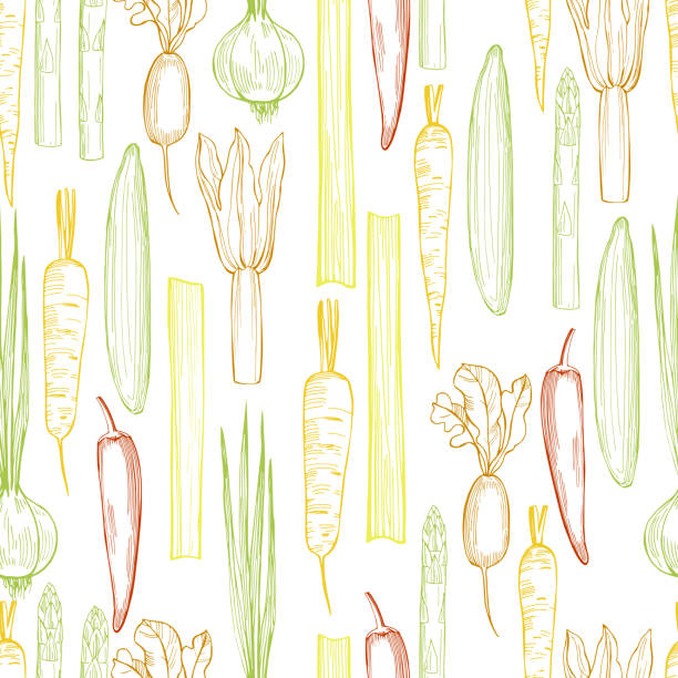 Vector seamless pattern with vegetables. Vector seamless pattern with hand drawn vegetables on a white background. crucifers stock illustrations