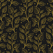 Vector seamless pattern with vertical abstract foliate branches; gold twigs on black background.