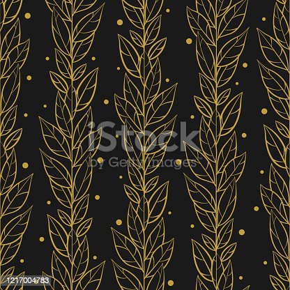 Vector seamless pattern with vertical gold braches and leaves on black background; abstract floral design for fabric, wallpaper, textile, wrapping paper, package, web design.