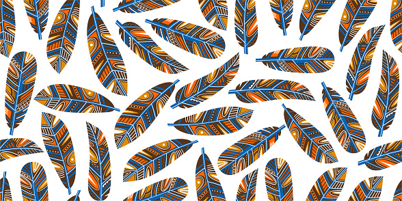Vector seamless pattern with vintage colorful feathers. Banner template design with ethnic ornate feathers. Hand painted art illustration for boho, authentic design, greeting card or fabric print