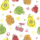 istock Vector seamless pattern with watercolor fruits 1290325787