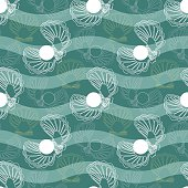 Vector seamless  pattern with waves and shells