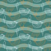 Vector seamless pattern with waves and shells.