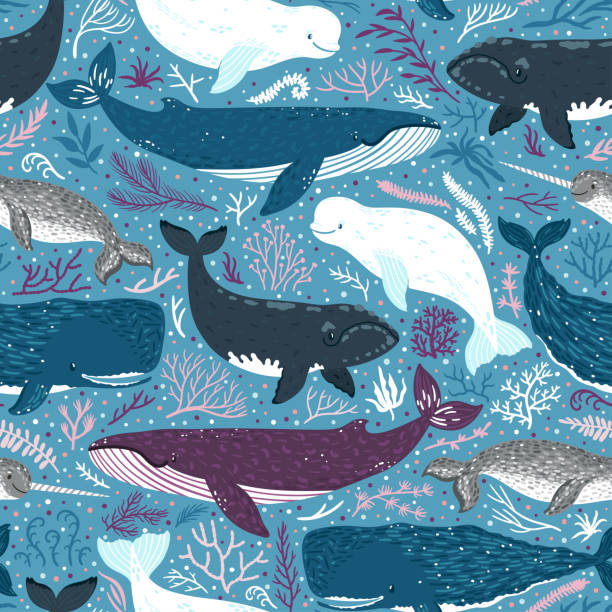 Vector seamless pattern with whales. Repeated texture with marine mammals: narwhal, blue whale, beluga whale, white whale and sperm whale. Blue sea background with animals. vector art illustration