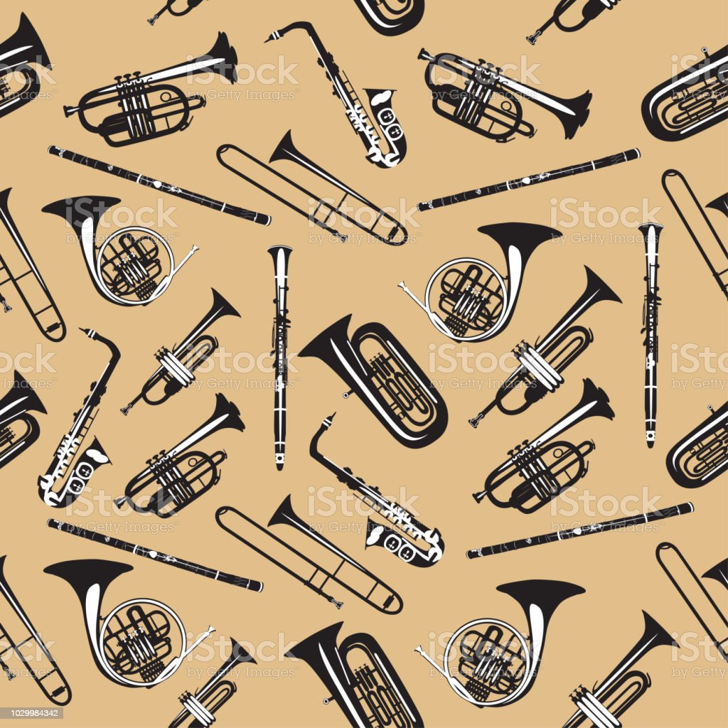 Vector Seamless Pattern With Wind Musical Instruments Stock