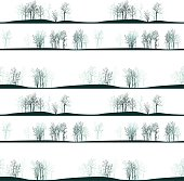 vector seamless pattern with winter trees