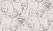 Vector seamless pattern with woman face and rose flower drawn in black continuous line,. Endless background in trendy modern minimalism abstract style