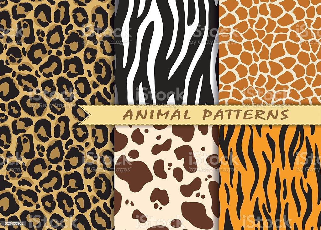 Vector seamless patterns set with animal skin texture. vector art illustration