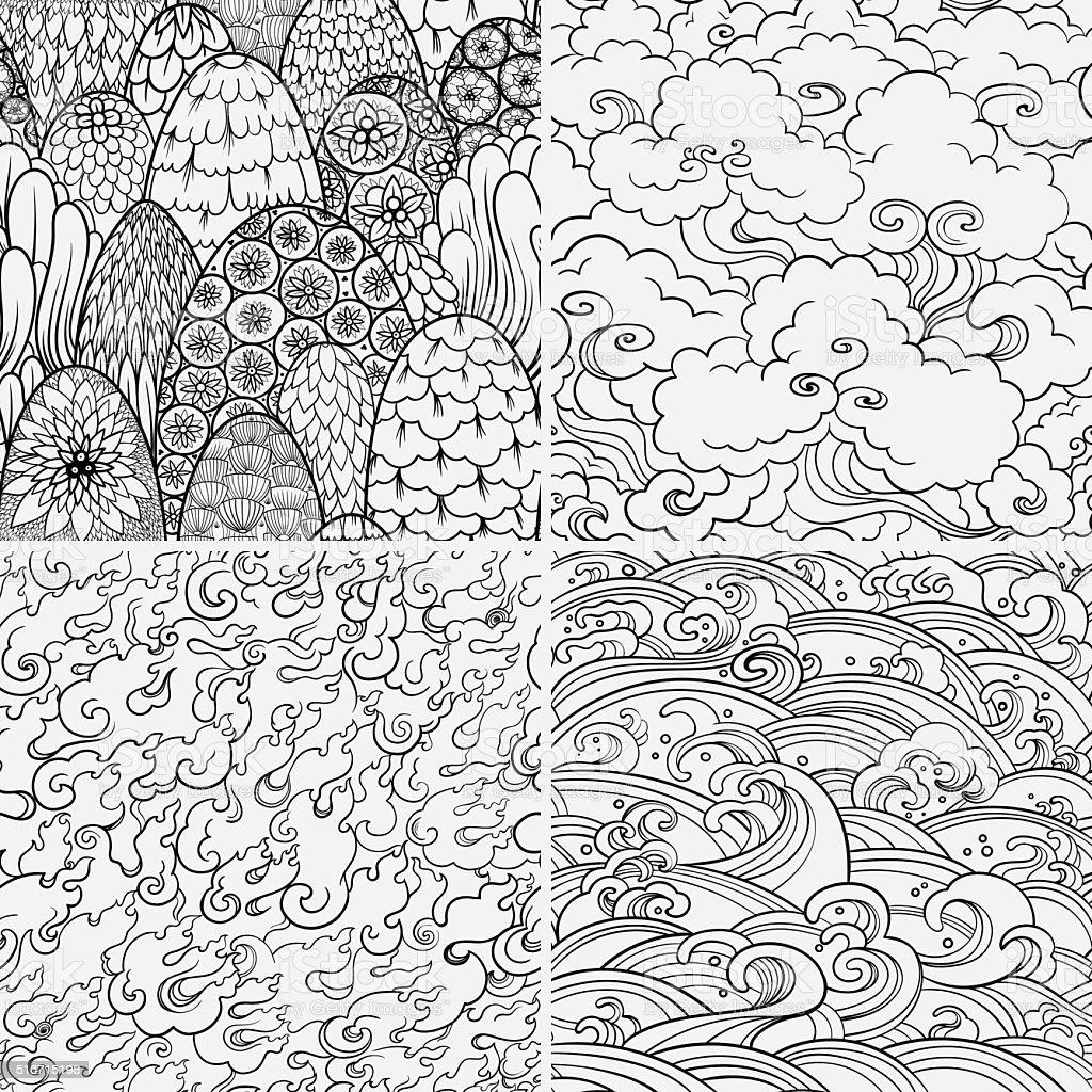 Ilustración de Vector De Sin Costura Patrones Con 4 Elementos ...