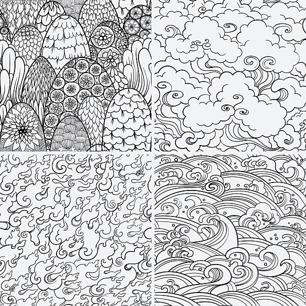 bildbanksillustrationer, clip art samt tecknat material och ikoner med vector seamless patterns with 4 nature elements - skog brand