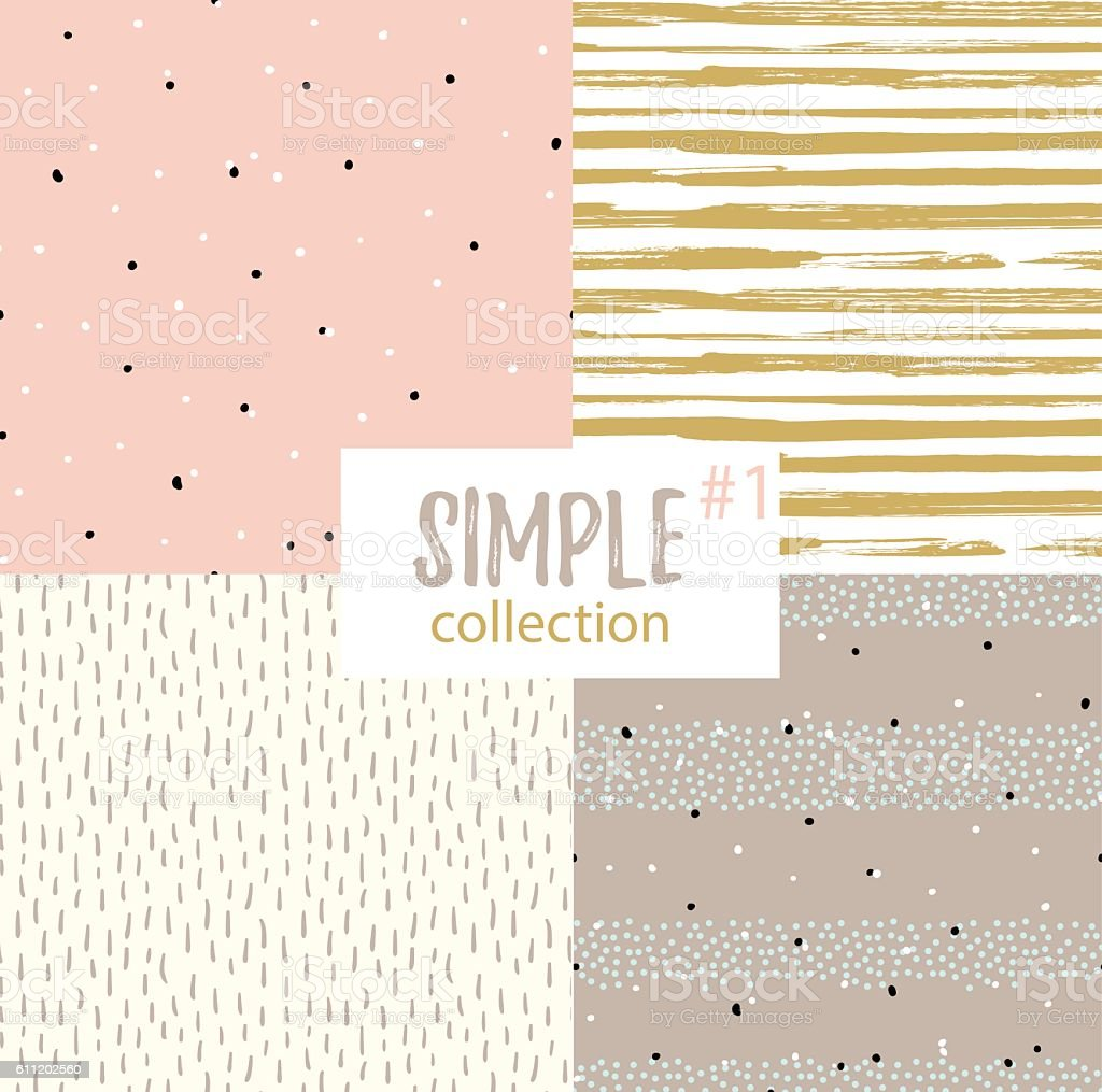 Vector seamless patterns with universal simple textures. vector art illustration