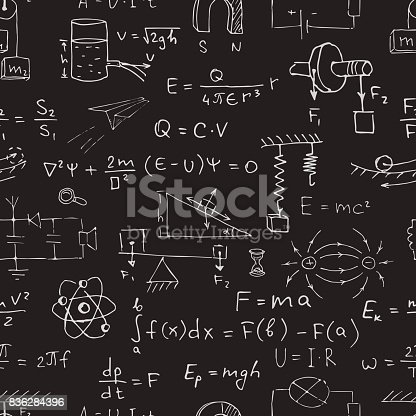 Vector seamless physics pattern. Chalk physics symbols on black blackboard.
