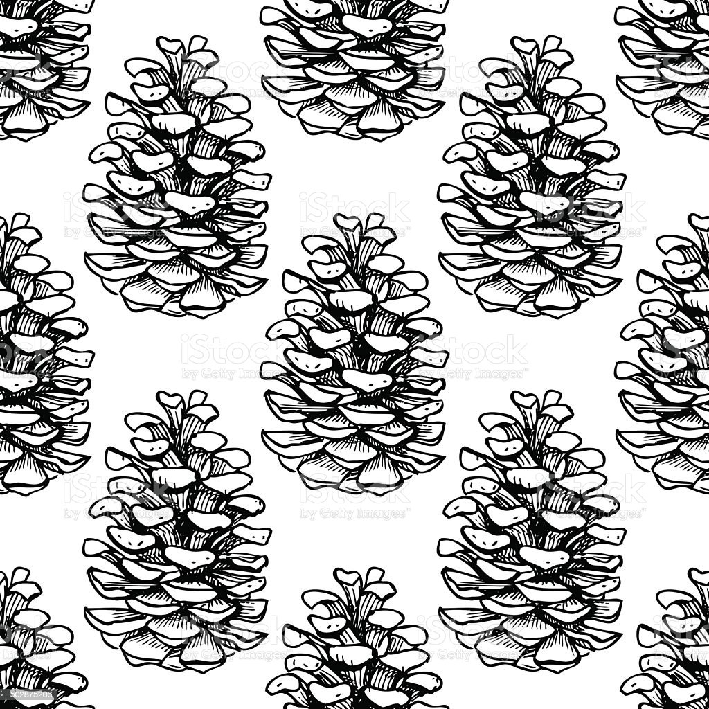 Vector Seamless Pine Cone Pattern Stock Vector Art More Images Of