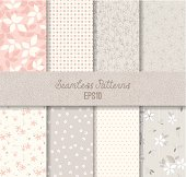 Vector seamless patterns. Can be used for wallpaper and textile design, pattern fills, website backgrounds, surface textures and book design. AI CS5, EPS 10 and JPG.