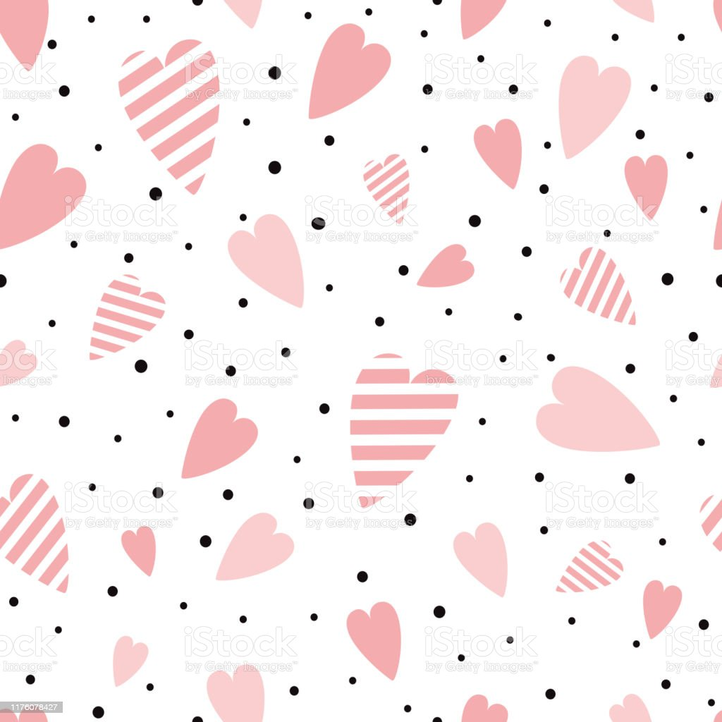 vector seamless pink pattern heart ornament decorated black polka dot ornament love background valentines day print stock illustration download image now istock vector seamless pink pattern heart ornament decorated black polka dot ornament love background valentines day print stock illustration download image now istock