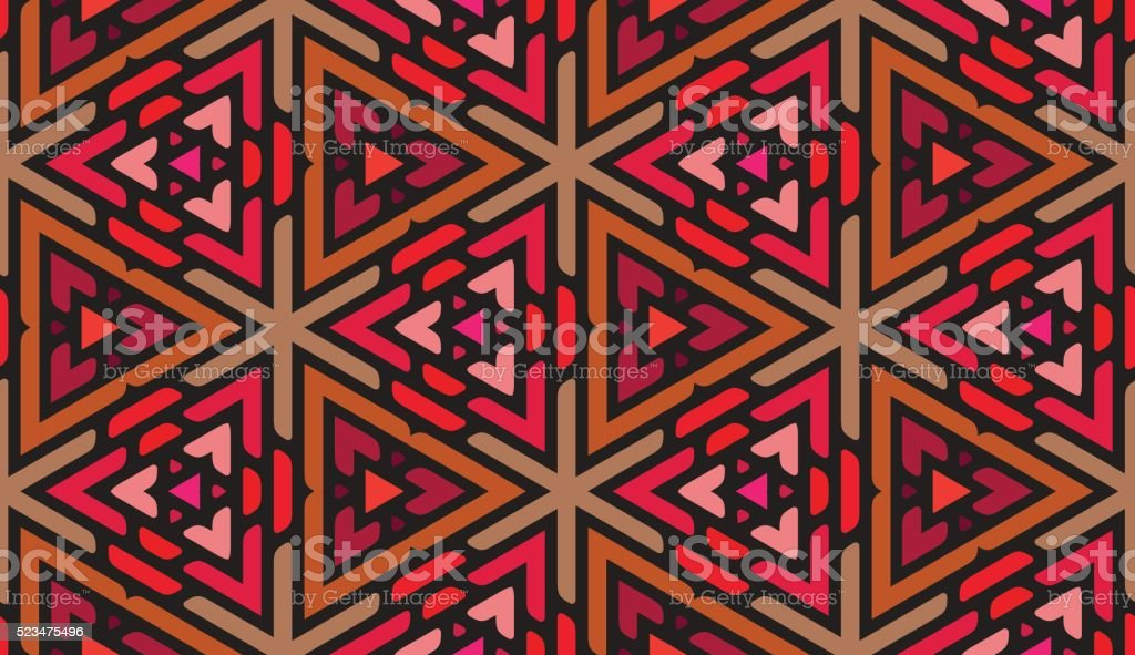 Vector Seamless Pink Shades Multicolor Triangle Ornaments Pattern vector art illustration