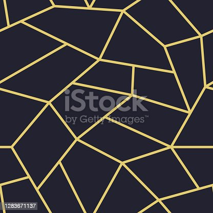 Vector seamless polygonal pattern - luxury gold geometric design. Abstract ornamental background. Mosaic trendy print.
