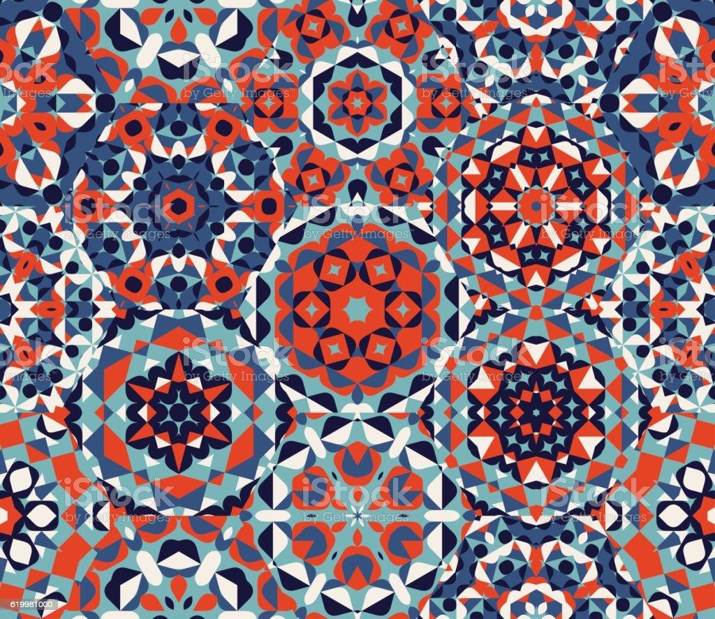 Vector Seamless Red Blue One Block Wonder Quilt  Ornaments Patchwork vector art illustration