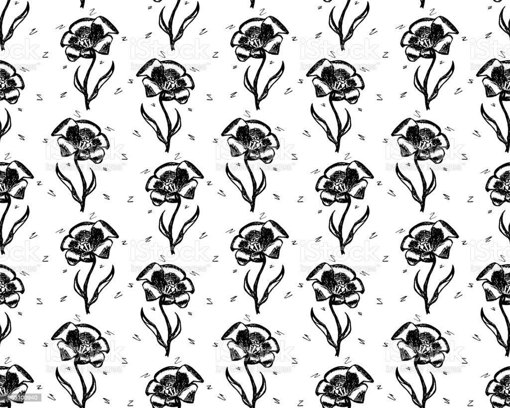Vector seamless retro pattern, flowers tulip. Can be used for web page background, pattern fills, wallpaper, surface textures vector seamless retro pattern flowers tulip can be used for web page background pattern fills wallpaper surface textures - stockowe grafiki wektorowe i więcej obrazów bez ludzi royalty-free