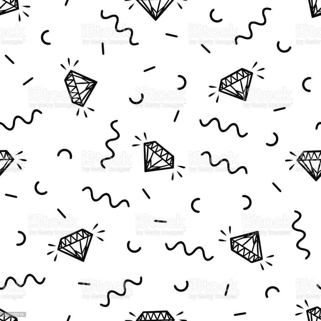 Vektor nahtlose Retro-Muster mit Vintage Diamanten und geometrischen Elementen. Chaotische trendige Geometrie in Hipster-Stil. Geeignet für Poster, Abdeckungen, Drucke. – Vektorgrafik