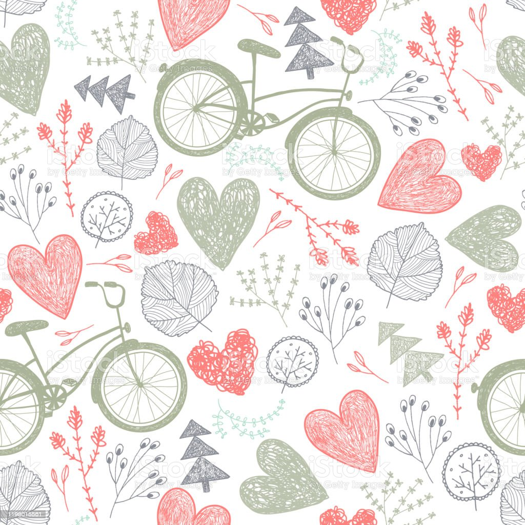 vector seamless romantic pattern hearts florals vintage bicycles spring summer wedding background stock illustration download image now istock vector seamless romantic pattern hearts florals vintage bicycles spring summer wedding background stock illustration download image now istock