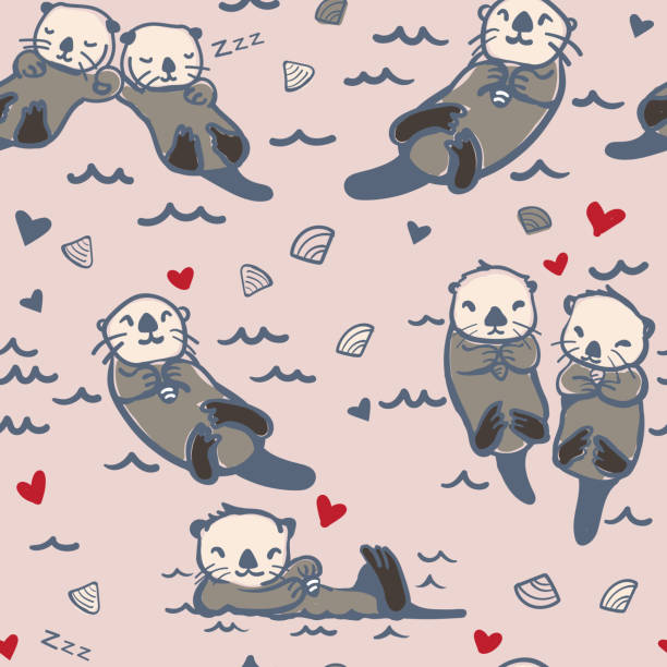vector seamless sea otter pattern - otter stock illustrations, clip art, cartoons, & icons