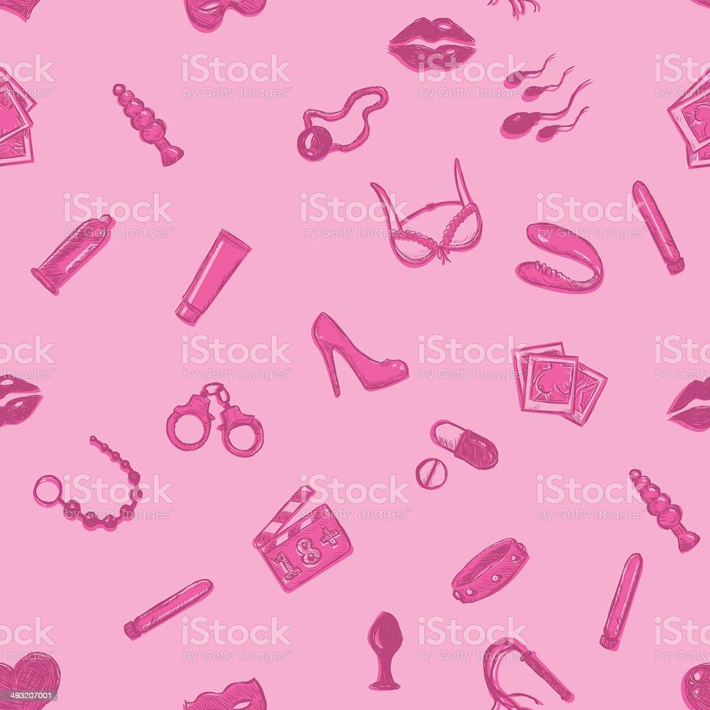 Vetor sem costura padrão loja de artigos sexuais - ilustração de arte em vetor