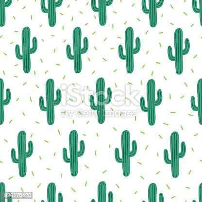 istock Vector seamless simple pattern with cactuses on white background 926175420