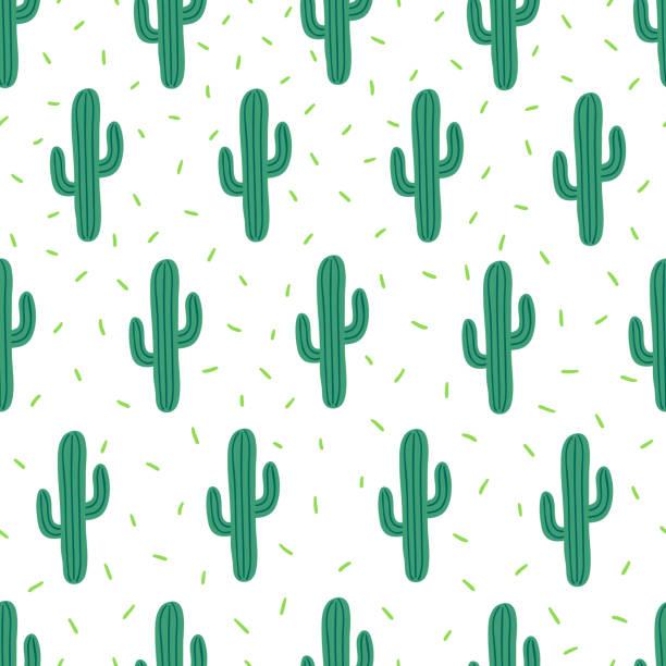 stockillustraties, clipart, cartoons en iconen met vector naadloze eenvoudig patroon met cactussen op witte achtergrond - cactus