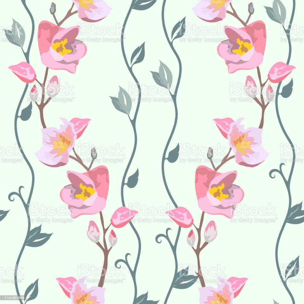 テキスタイル紙の壁紙ギフトラッピング婦人服のための生地のデザインのためのベクトルシームレスな春の花柄 まぶしいのベクターアート素材や画像を多数ご用意 Istock