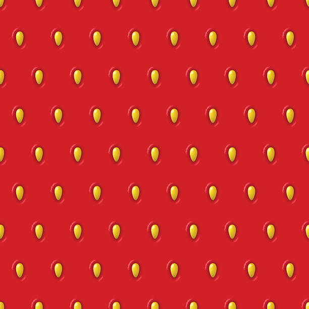 Vector seamless strawberry texture. Red pattern with berry and seeds. Vector seamless strawberry texture. Red pattern with berry and seeds. Close-up of strawberry. Design concept for fresh farm food label, package, wrapping. extreme close up stock illustrations