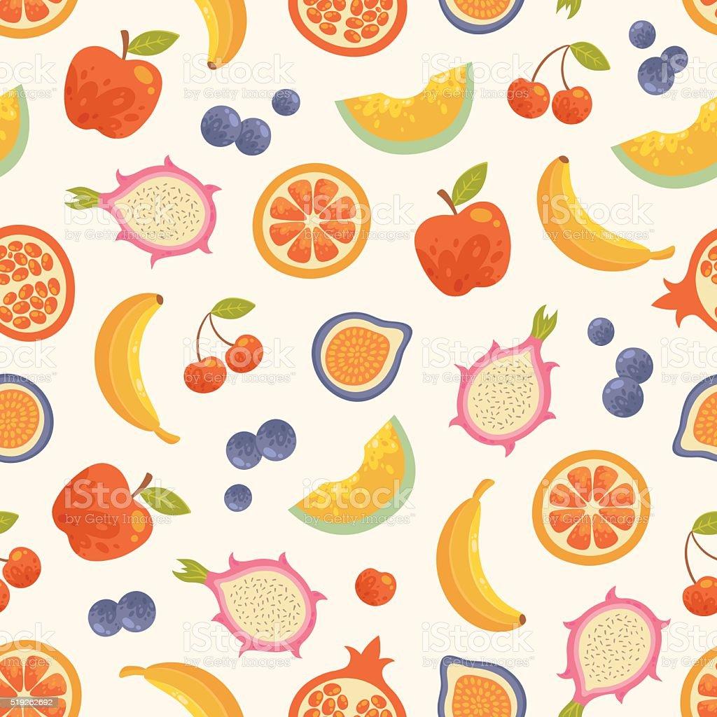 ベクトルシームレスな夏のフルーツの背景 のイラスト素材 519262692
