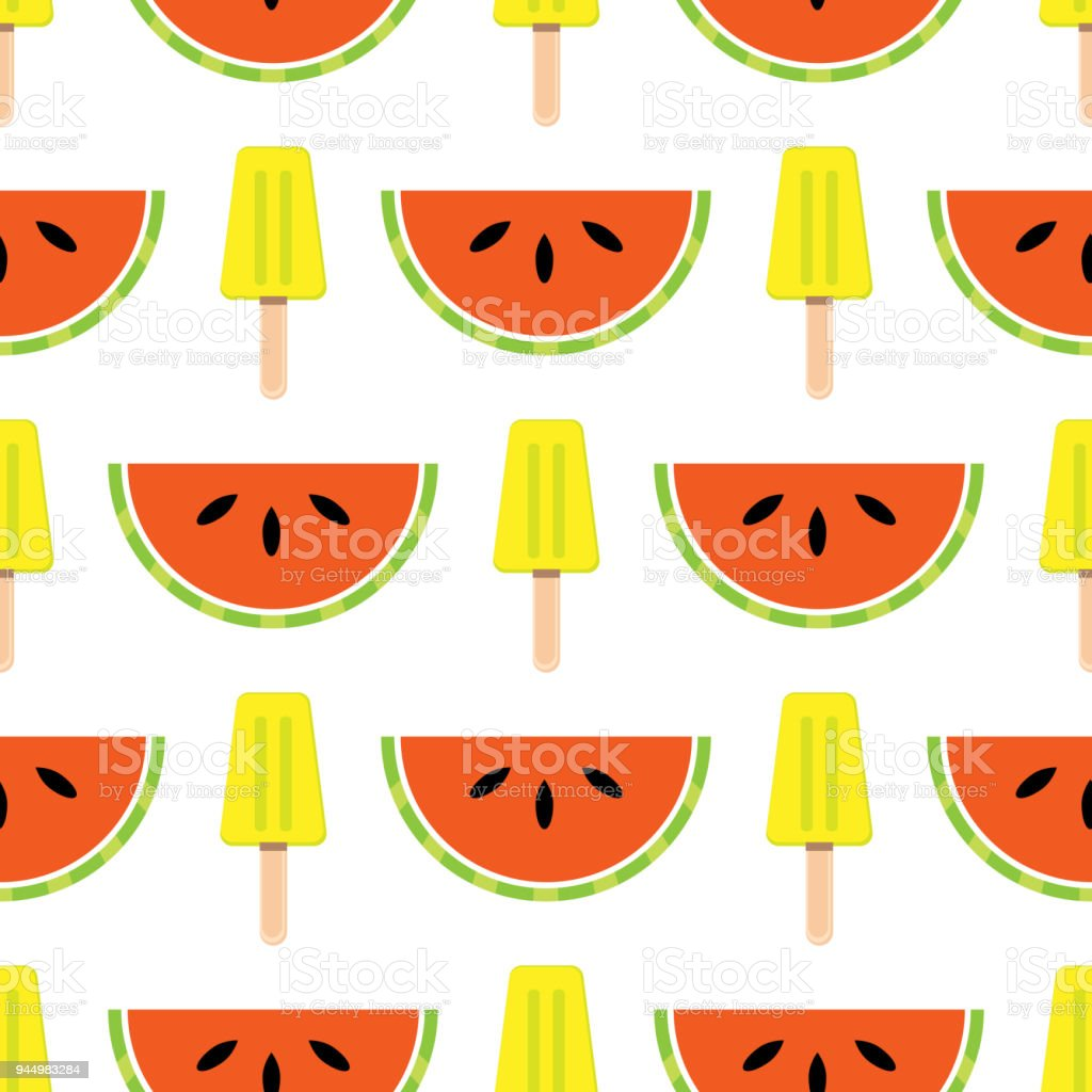 Seamless Ice Cream Wallpaper Royalty Free Stock Images: Vector Seamless Summer Theme Background With Fruits And