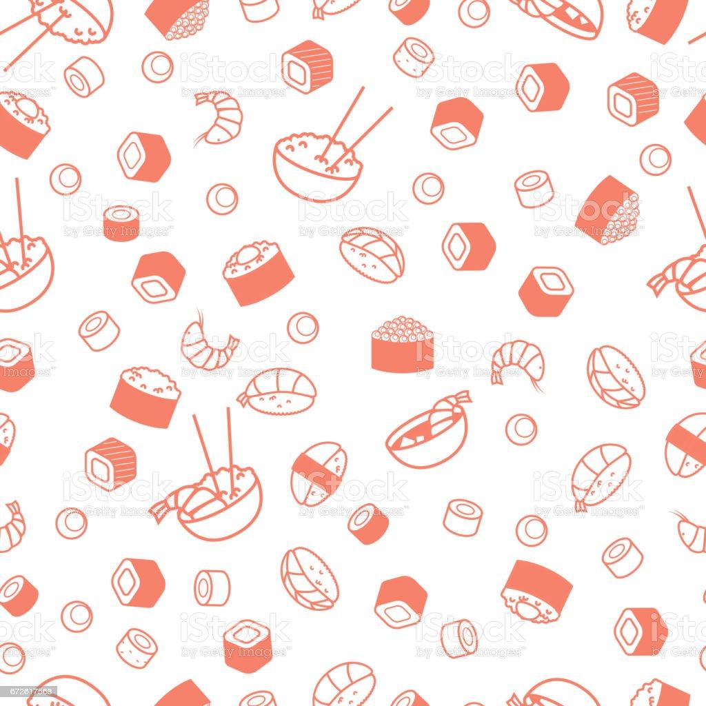 Patrón de vector transparente de sushi - ilustración de arte vectorial