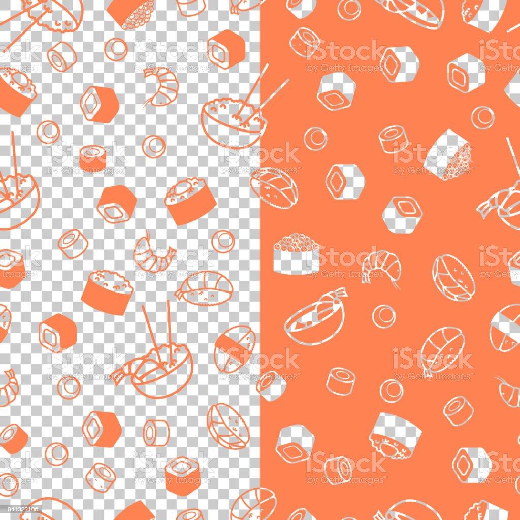 Vector seamless sushi pattern vector art illustration