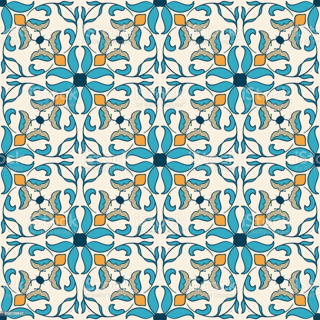 Vector seamless texture. Beautiful colored pattern for design and fashion with decorative elements vector art illustration