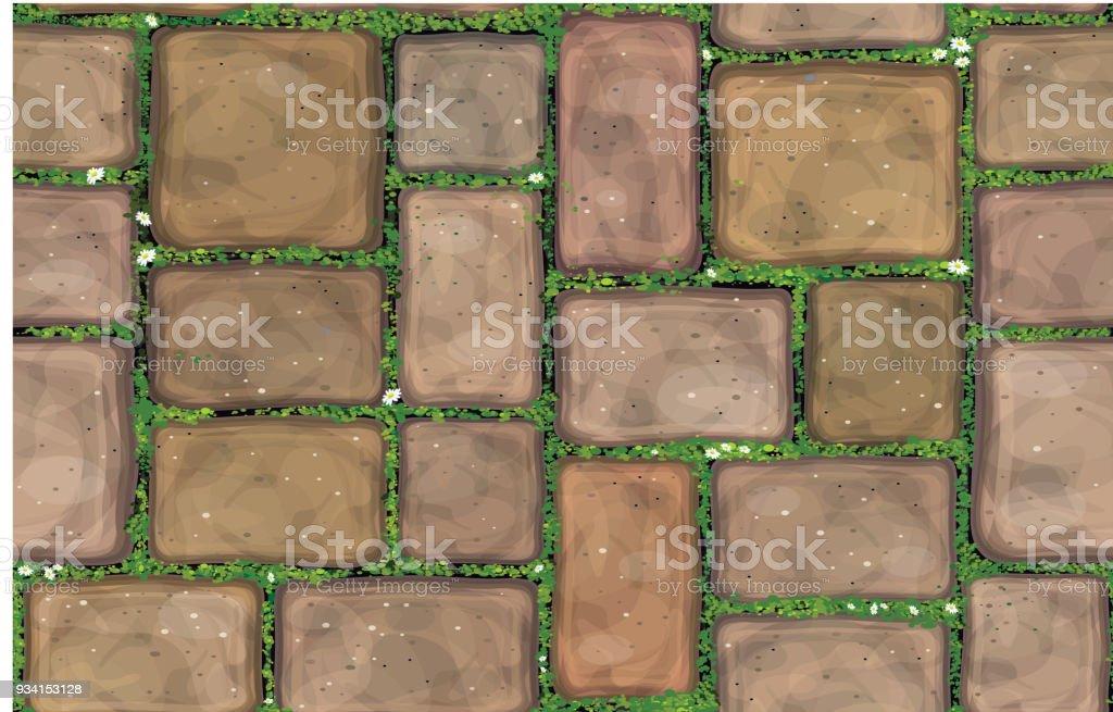 Pavimento de pedra calcária vector textura perfeita coberto de grama. - ilustração de arte em vetor