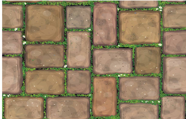 Vector seamless texture brown stones  pavement  covered grass. Vector seamless texture brown stones  pavement. moss stock illustrations